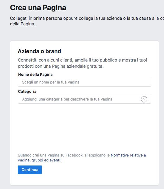 informazioni sulla pagina facebook